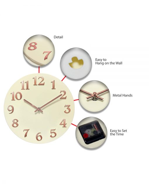 features of vogue ivory wall clock 12 inch