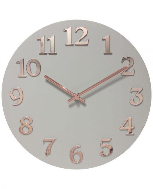 front of vogue 12 inch rose gold gray wall clock