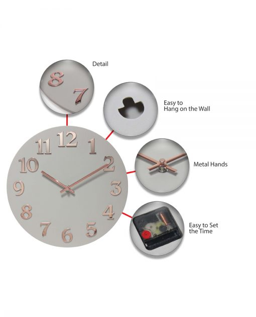 features of vogue wall clock 12 inch easy to hang detail metal hands easy to set time