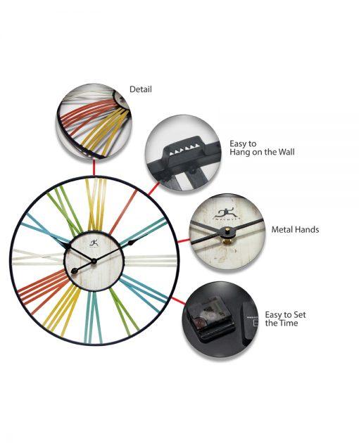 wagon wheel multi color fun large wall clock 27 inch decorative