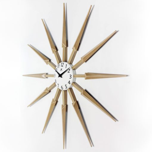 left side view 24 inch celeste large wall clock mid century modern
