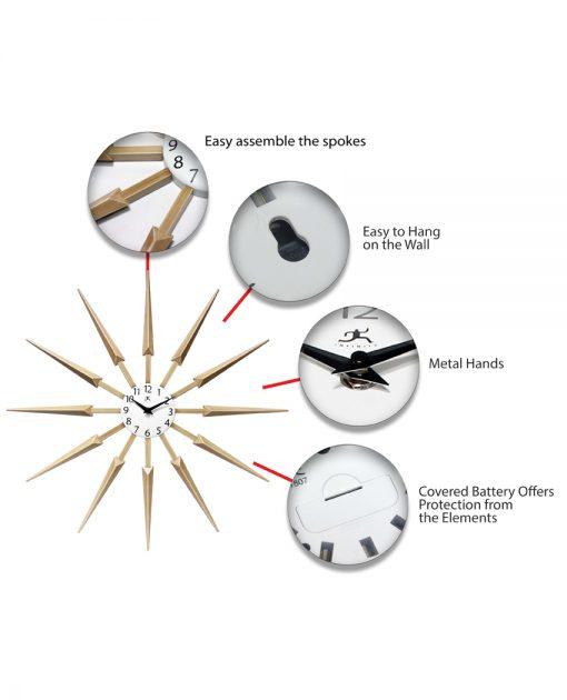 wood celeste tan wall clock 24 inch mid century modern