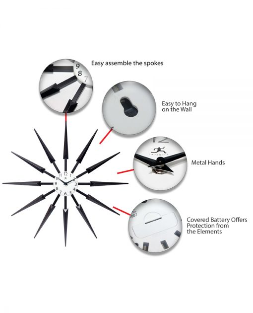black celeste wall clock 24 inch