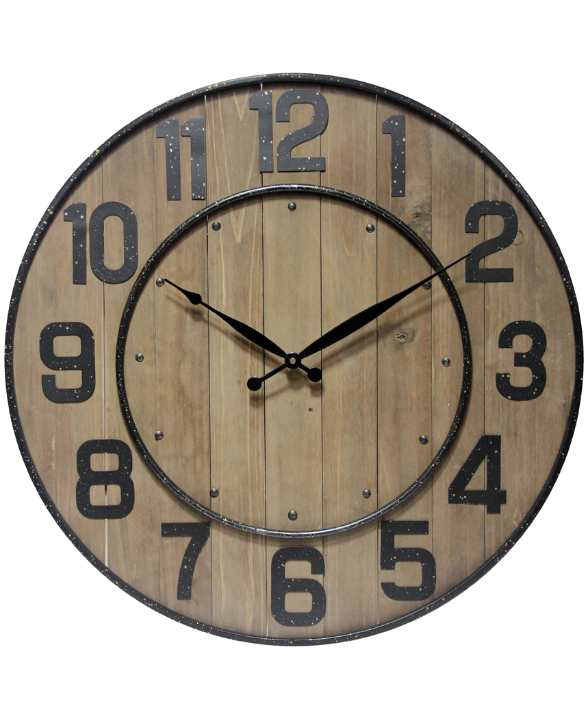 wine barrel wall clock with numbers large wooden