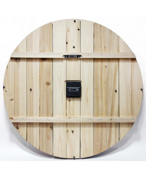 back of wooden wine barrel wall clock