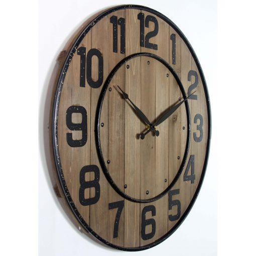 left side view of large wall clock black numbers black hands wooden