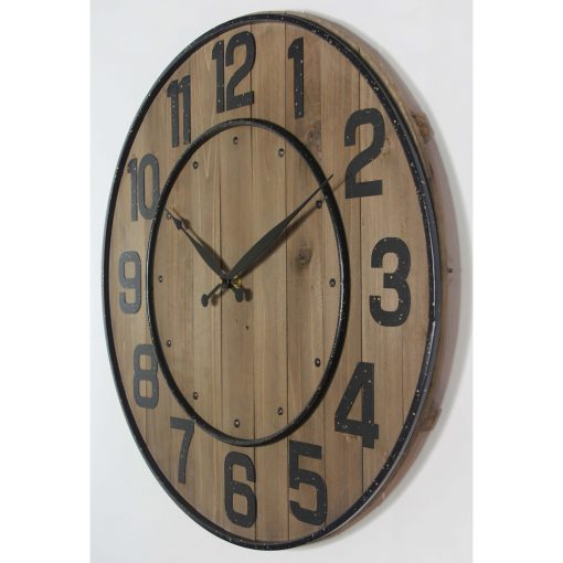 right side view of wine barrel brown wooden wall clock