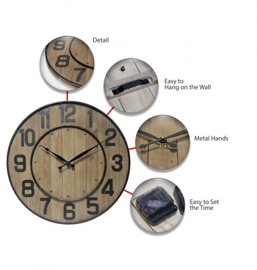 features of brown wooden wine barrel wall clock