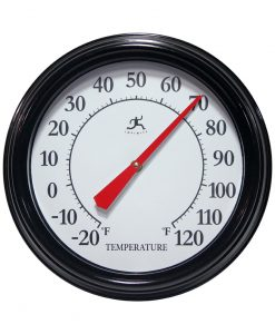 indoor outdoor thermometer black 12 inch wall garage
