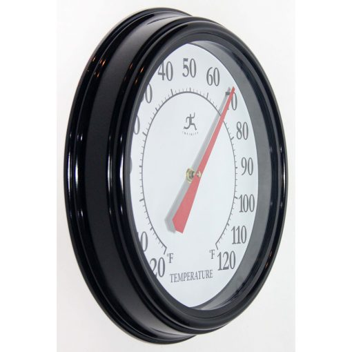 right side view of black 12 inch wall thermometer