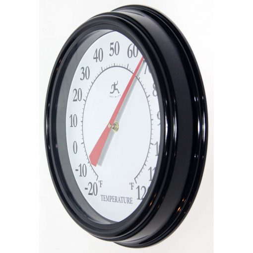 left side view of black 12 inch wall thermometer