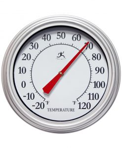 silver 12 inch wall thermometer red hands indoor outdoor front view