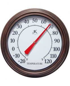 brown indoor outdoor wall thermometer