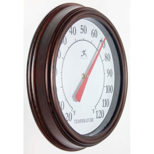right side view of brown indoor outdoor thermometer