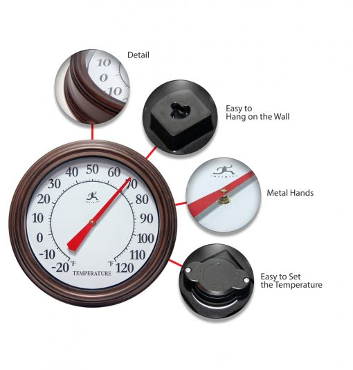brown indoor outdoor wall thermometer features