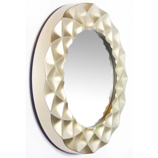right side view of glam wall decorative circle silver mirror
