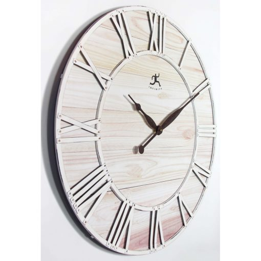 left side view of farmhouse fusion ivory large decorative wall clock white