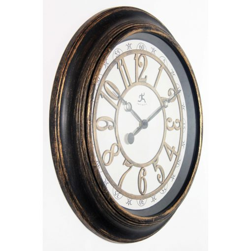 right side view of harbor brown rustic wall clock large