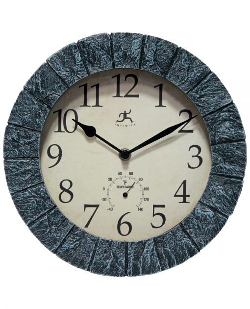 front of stone wall clock indoor outdoor temperature thermometer