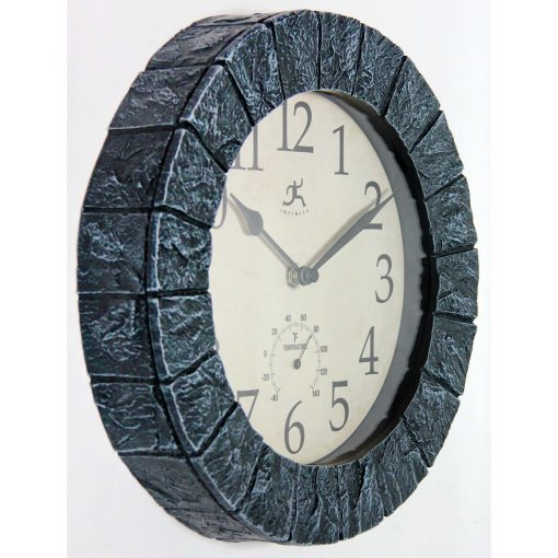 right side view of indoor outdoor small wall clock time temperature thermometer