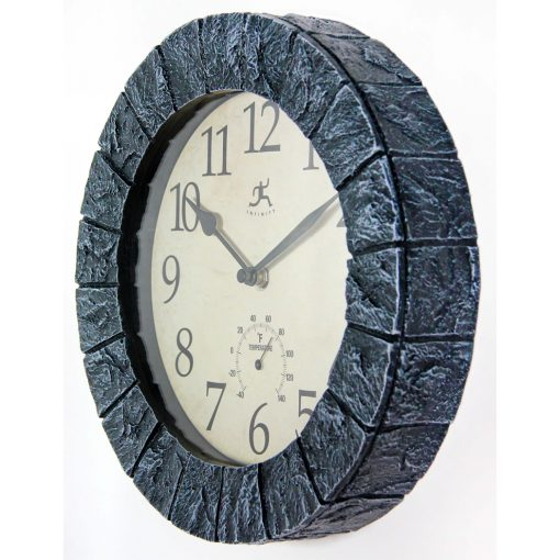left side view of indoor outdoor stone wall clock temperature thermometer Fahrenheit 10 inch small