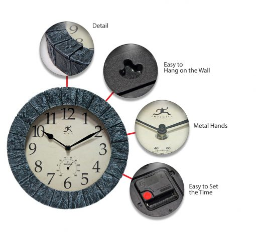 stone look indoor outdoor wall thermometer clock temperature time small
