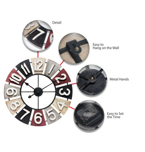 features of windmill large colorful wall clock