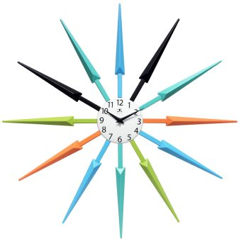 celeste wall clock unique mid century colorful black blue orange green