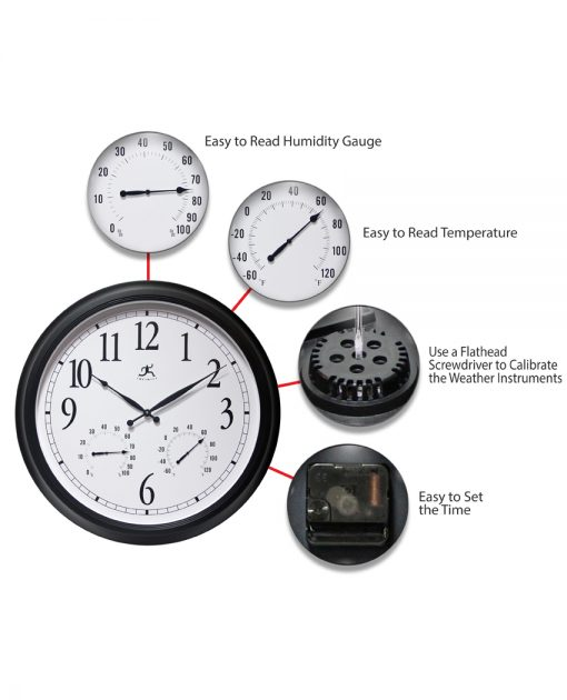 large wall clock temperature humidity indoor outdoor