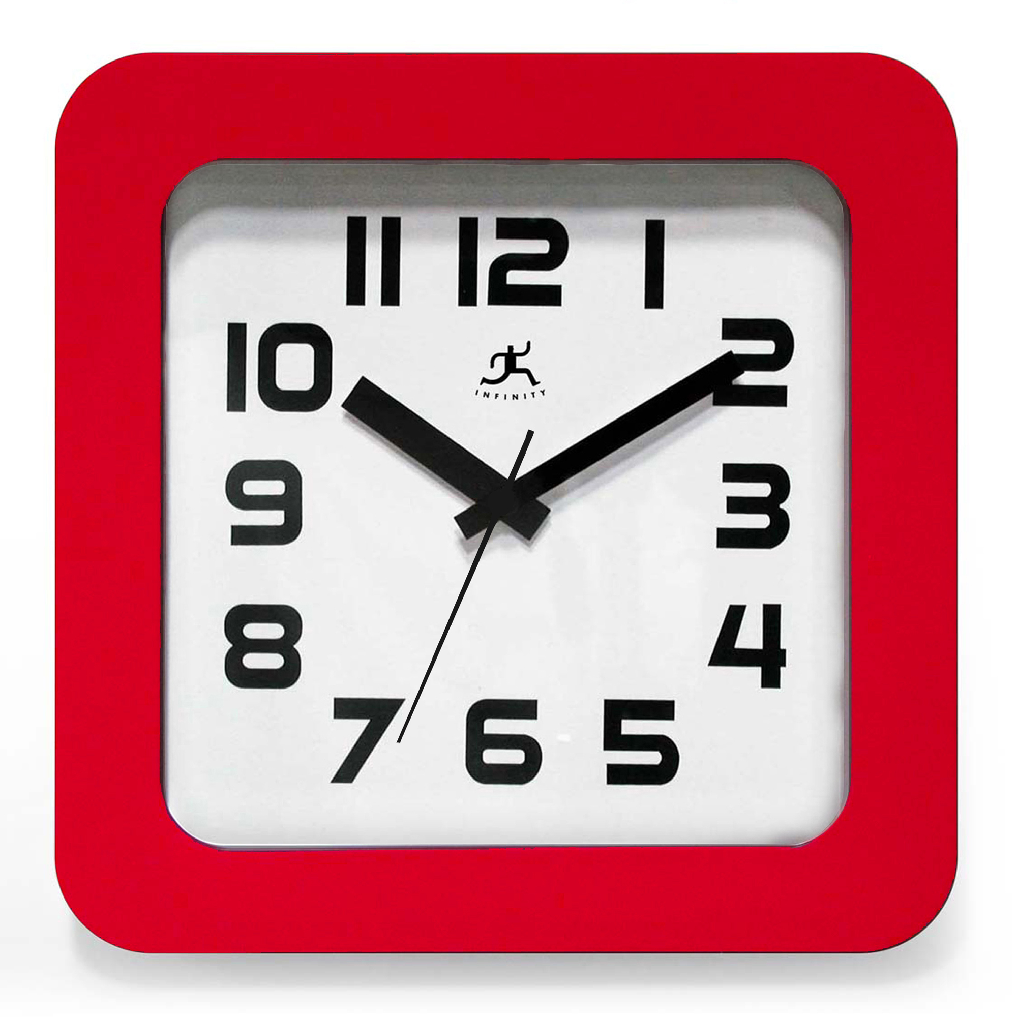 Jazzy Square Red Wall Clock 9